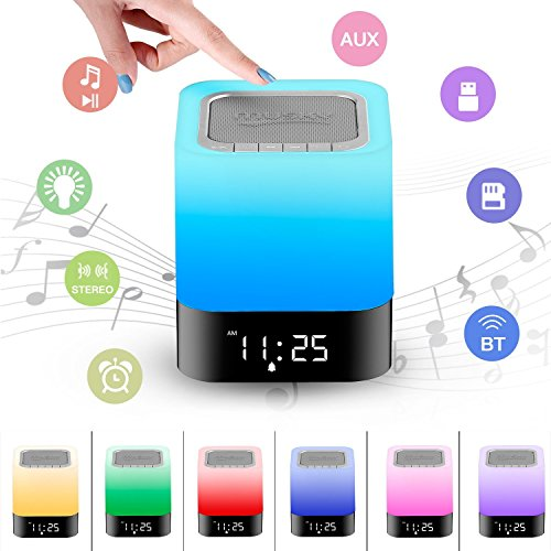 Touch Control LED Night Light Bluetooth Speaker, Dimmable Color Bedside Lam Speakerphone with Digital Calendar Alarm Clock, Hands-free AUX HiFi Music Player for - Code Wills Off Jack 20