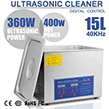 HappyBuy Ultrasonic Cleaner 15L Commercial Ultrasonic Cleaner Stainless Steel Ultrasonic Cleaner With Heater And Digital Control Ultrasonic Cleaner Solution Heated With Jewelry