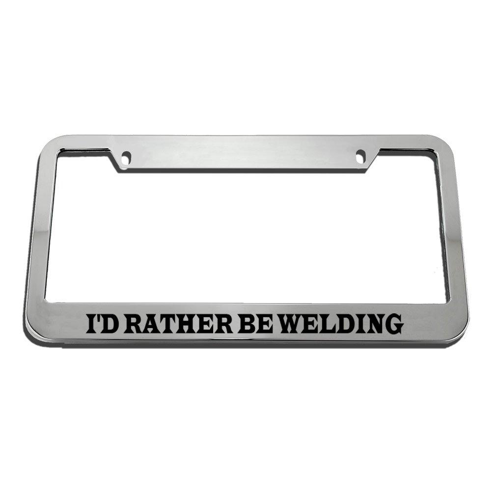 I/'D Rather Be Skiing Black Metal License Plate Frame Tag Holder