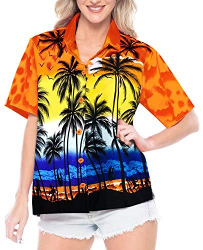 LA LEELA Likre Button Down Casual Cruise Shirt Orange 7|XL - US 40 - 42E ()