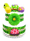 Gender Neutral Diaper Cake - Topsy Turtle 2 Tier Baby Shower Centerpiece Decoration