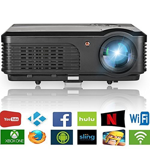 Home Theater Projector WiFi (Warranty Included) 3200 Lumen Support 1080p Full HD USB, Wireless Multimedia Projector Portable for Laptop Smartphone iPhone iPad Indoor Outdoor Video Game Movie Projector