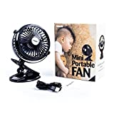 Amado Mini Portable Fan, Clip on Compact Design with Rechargeable Battery and USB Charging System, 360° Rotations and Adjustable, Stroller Fan, Travel Fan, Battery Operated Fan