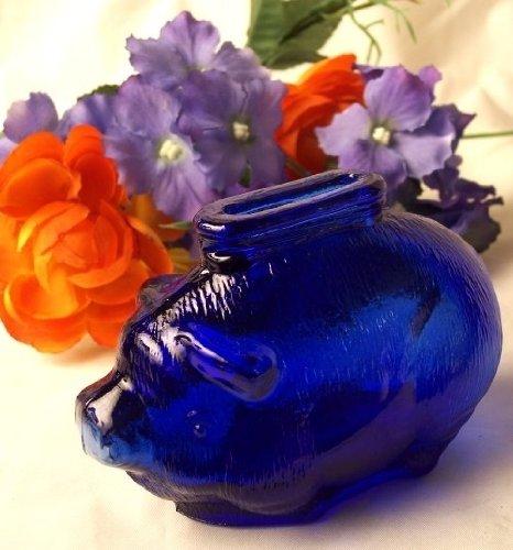 Cobalt Depression Glass (IWGAC 01-16204 Cobalt Blue Glass Pig Bank)