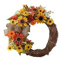 Fall Sunflower Door Wreath - Burlap Bow- WR4896