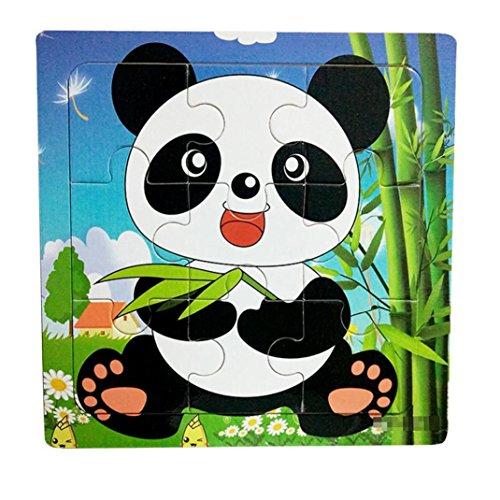 LtrottedJ 1PC Wooden Animal Puzzle Educational Developmental Baby Kids Training Toy ()