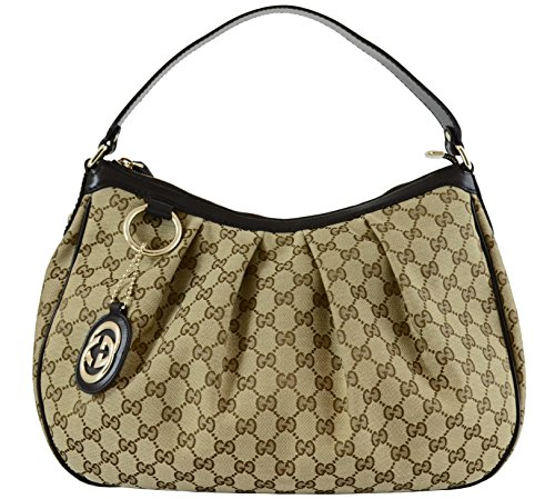 Gucci Sukey Hobo Gucci Monogram Brown Beige Leather Bag Handbag