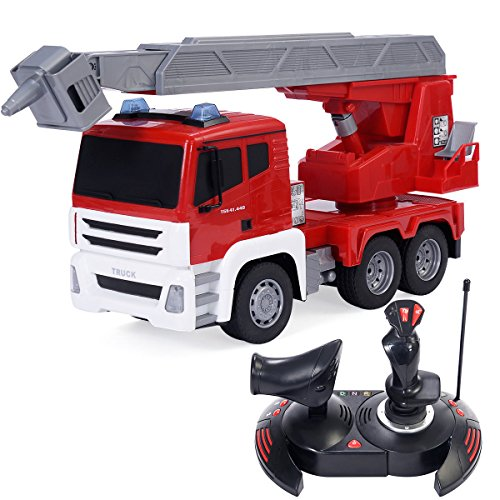 S AFSTAR Safstar 1/18 5CH Remote Control Cement Mixer Truck Crane Heavy Construction Lifting Truck Fire Engine Truck Kids Toys (Red Fire Engine Truck) -