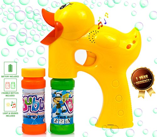 Kiddi Go Bubble Gun Blower Machine Blaster Duck Shape with Music and Sounds - 2 Bubble Solution and Batteries Included ()