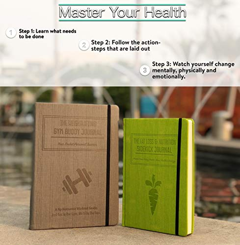 1x Weightlifting Gym Buddy Journal Bundle with 1x Fat Loss & Nutrition Sidekick Journal. Work Towards Your Fitness & Nutrition Goals simultaneously. by Habit Nest (Image #4)