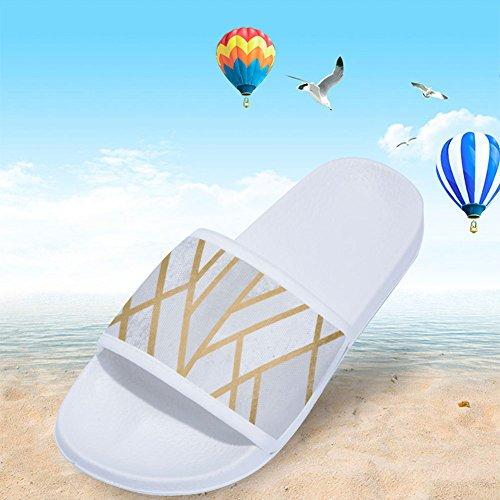 Secado Blanco para de Antideslizantes Doradas Patrón Mujer con geométrico Zapatillas y Líneas Rápido wq4EO71