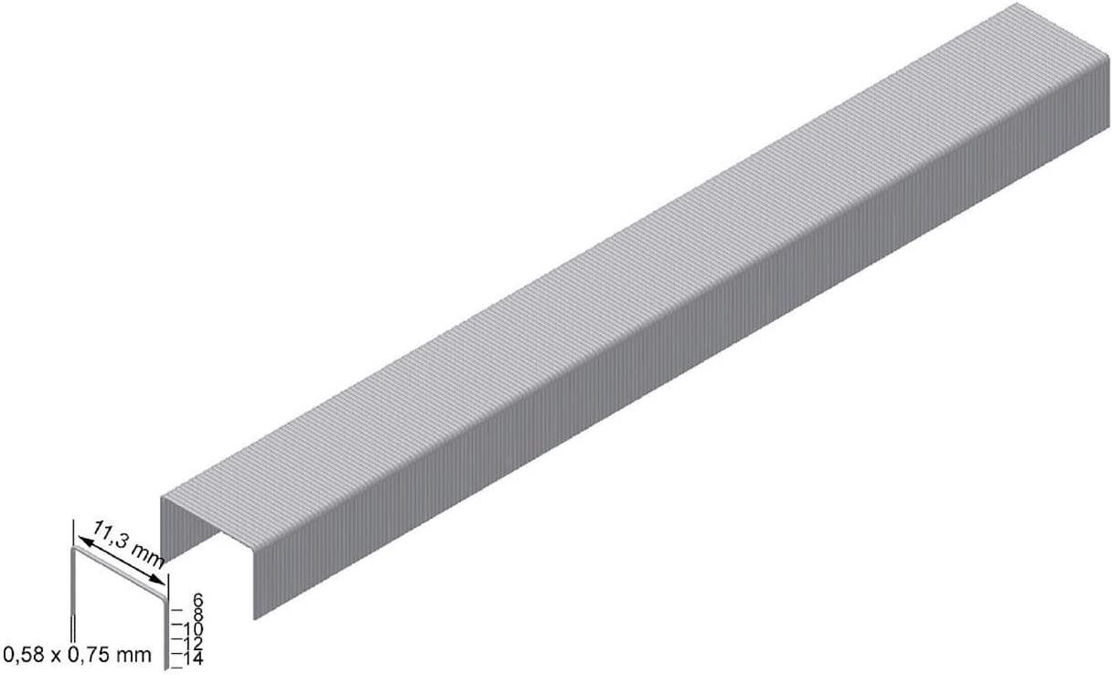 Grapas tipo 53 RIKAMA 3000 unidades, longitud: 12 mm, ancho: 11,4 mm, galvanizadas, tama/ño 12//11,4 mm