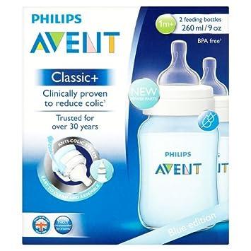 260ml Philips Avent Klassik+ Flasche SCF565//27 blau 2er Pack