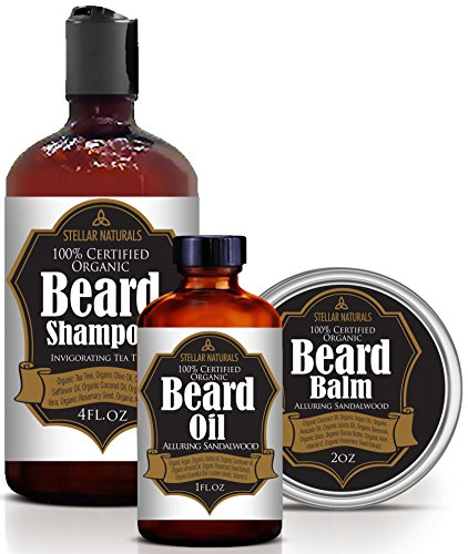 Beard Oil, Beard Balm and Beard Shampoo by Stellar Naturals: 100% Natural and Organic Beard Kit for Grooming and Conditioning a Healthy Beard. Great Gift for Men
