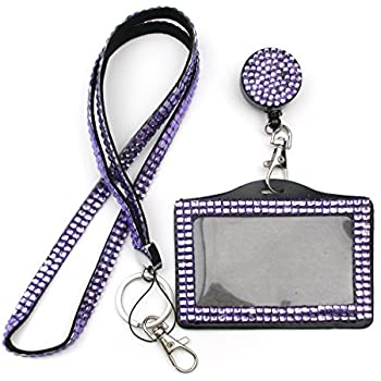 Amazon all in one rhinestone lanyard bling crystal badge reel all in one rhinestone lanyard bling crystal necklace badge reel horizontal card holder for colourmoves Image collections