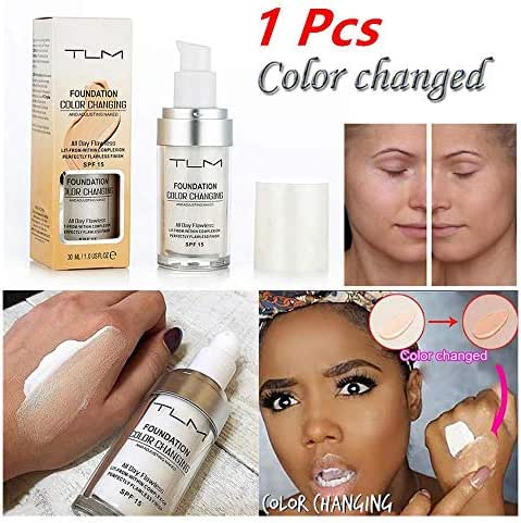 Color Changing Liquid Foundation,Efaster Makeup Base Nude,Face Liquid Cover Concealer Brighten Skin,Contains Shade-sensing Beads,Waterproof/Water-Resistant/Whitening/Sunscreen (1 Pcs)