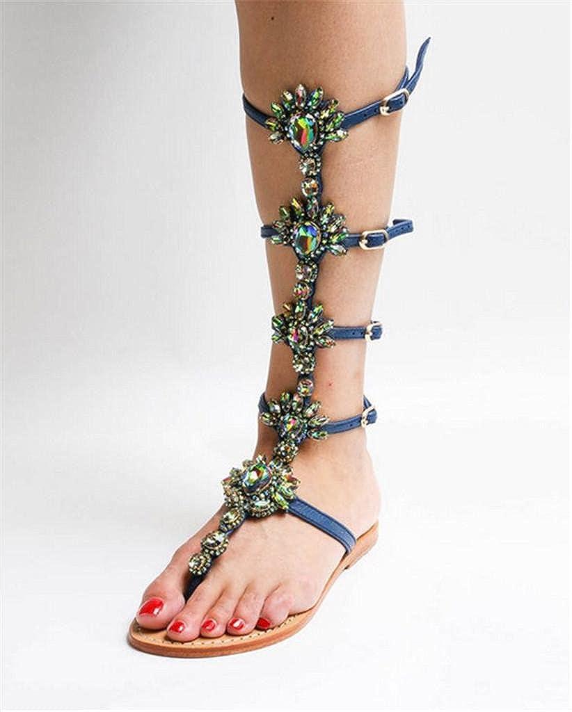 Kitzen Neue High Sandalen Damen Schnüren Sich Gladiator Knie