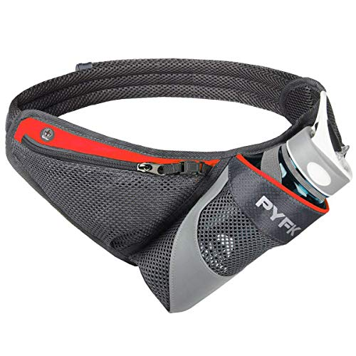 PYFK Running Belt Hydration Waist Pack with Water Bottle Holder for Men Women Waist Pouch Fanny Bag Reflective Fits iPhone 6/7 Plus (Orange) (Fanny Marathon Pack)