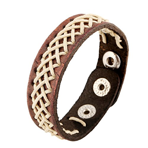 Vintage Handmade Knitted Leather Bracelet Punk Bangle Wrap Wrist Band - Outlet Seattle Hours