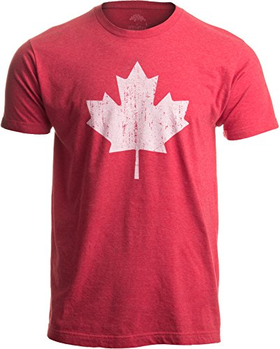(Canada Pride | Vintage Style, Retro-Feel Canadian Maple Leaf Unisex T-Shirt-Adult,XL Heather Red )