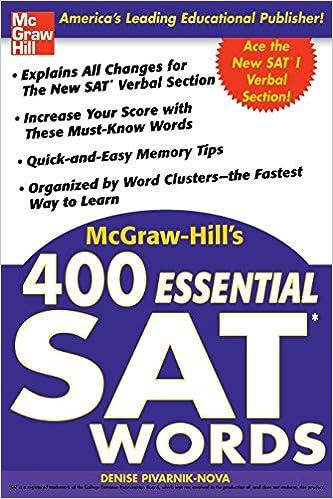Amazon mcgraw hills 400 essential sat words 0639785387374 mcgraw hills 400 essential sat words 1st edition fandeluxe Gallery