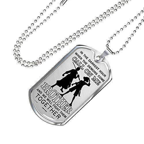 (AZ Gifts Motivation Call On Me Brother Dog Tag Luffy Zoro Brother One Piece Anime - Military Necklace Chain - Veteran's Gift - Inspirational Birthday Gift for Brother/Men Teenagers On Anniversary)