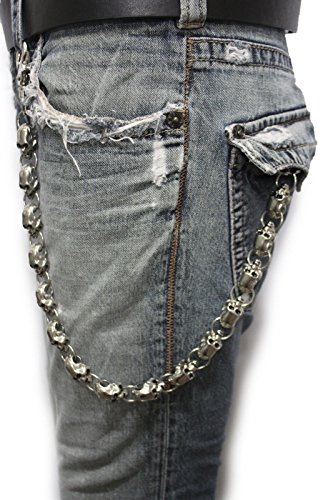 TFJ Men's Fashion Wallet Chain Links Big Skulls Silver Metal Keychain Clasp Ring