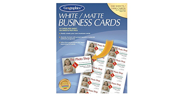 Amazon Com Geographics Royal Brites Business Card 3 5 X 2 65lb Recycled Matte 100 Pack White Business Card Stock Office Products
