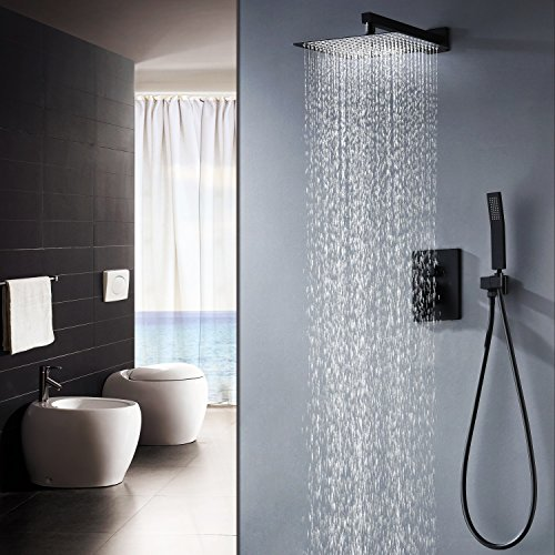KOJOX Shower System with High Pressure Rainfall Shower Head, Handheld Shower head and Shower Faucet valve, Bathroom Luxury Rain Mixer Shower Combo Set Wall Mounted (10 Inch Shower Head)