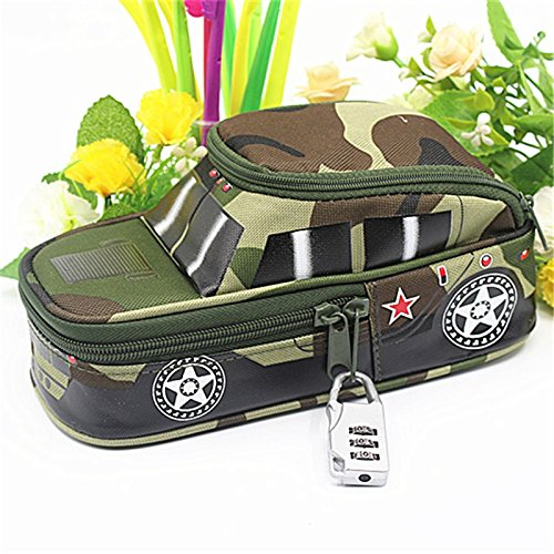 Seven One pencil case vehicle pen pouch bag with combination lock for boys Double zipper camouflage Canvas large cute school Pencil box (Green)