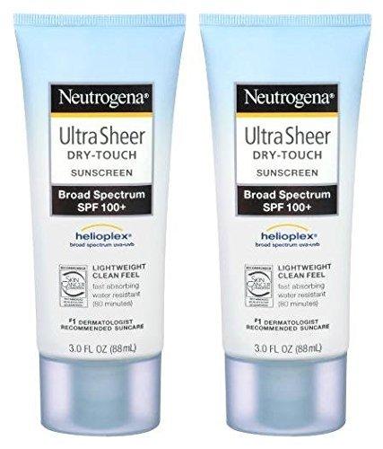 Neutrogena Ultra Sheer Sunscreen SPF 100+, 3oz, 2pk - High Protection Sunscreen