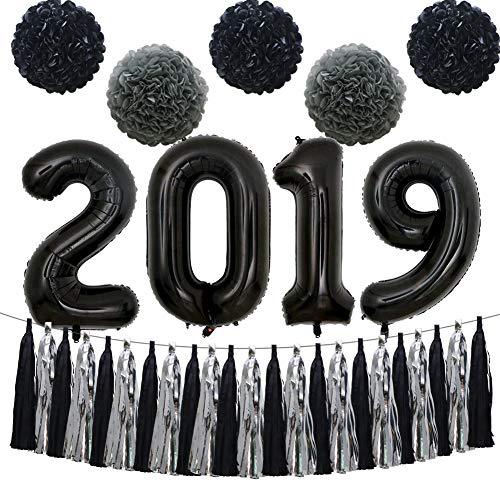 KAXIXI 2019 New Years Eve Party Decorations Kit, 2019 Graduation Anniversary Wedding Ceremony Party Supplies with 40inch Black 2019 Balloons, Tissue Paper Pom Poms Flowers, Tassel Garland -