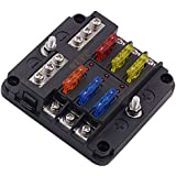 wupp st blade fuse block with led warning indicator damp-proof cover - 6  circuits