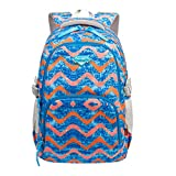 Backpack - Bageek School Bag Wave Printed Bookbag Travel Rucksack for Boys Girl