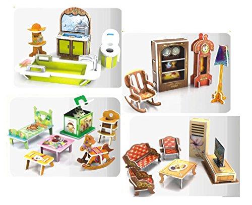 Top Race DIY, Doll House Decor, Living Room, Bath Room, Kids Room, Reading Room, Doll House Furniture (91 Pieces) ()