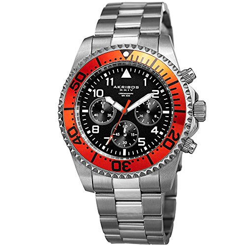 Akribos XXIV Men's Multi-Function Silver-Tone Case with Black Dial and Orange Bezel on Silver-Tone Stainless Steel Bracelet Watch AK950SSOR
