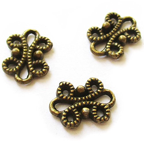 Heather's cf 126 Pieces Brass Tone Flower Spacer Connector Findings (2 Holes)Jewelry Making (Hole Flower Spacer)