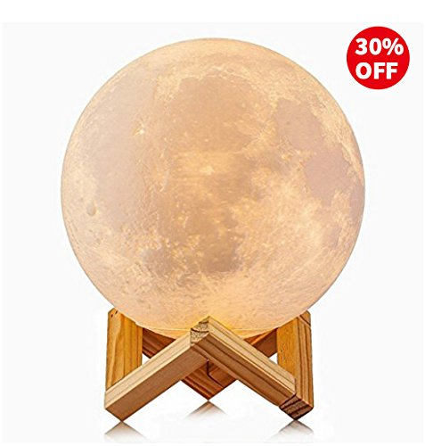 Sunba Youth 3D Lunar Moon Lamp with Stand, 5.7 inches Mystical Rechargeable Moon Night Light, Dimmable Touch Control Lighting Color For Home Decor