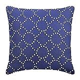 "Designer Blue Shams, Lattice Trellis Pillow Shams, 24""x24"" Pillow Sham, Square Cotton Linen Shams, Contemporary Pillow Shams - Royal Blue Illumination"