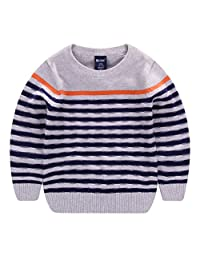 Boys Crewneck Sweater Cotton Kids Long Sleeve Striped Pullover Sweatshirts 2-7T