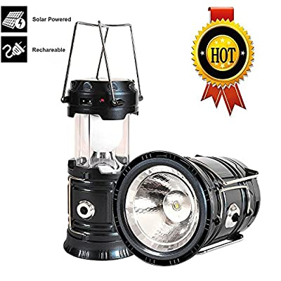 Solar LED Camping Lantern, Portable Outdoor Lantern Flashlight for Emergency,Hurricanes,Storm, Power Outage (Black)