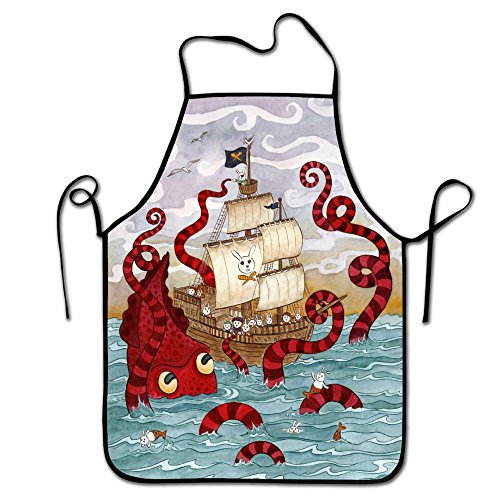 Liubajsdj-Adjustable Kitchen Chef Apron-Rabbit Mermaid Pirate Octopus,Commercial Men & Women Bib Apron for Cooking, Baking, Crafting, Gardening, BBQ