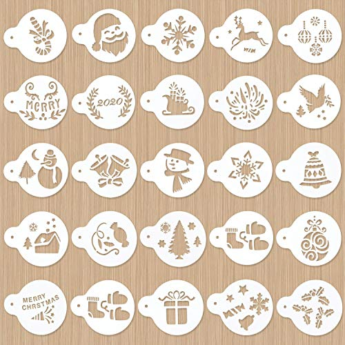 Yaromo 24 Pieces Christmas Decoration Stencil Set, Decorative Stencils Cake Tool Cutter Embossing Mold for Cookies (Christmas Tree, Bells, Snowman, Elk) (Icing Royal Tree Cookies Christmas)