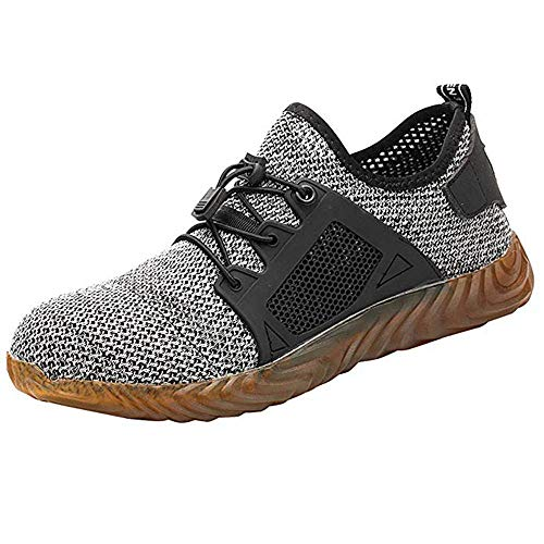 KINGLEN Safety Work Steel Toe Shoes,Breathable Lightweight Casual Athletic Industrial & Construction Mesh Slip Resistant Composite Sneakers (9 Women / 7 Men, Gray)