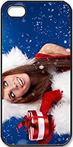 iPhone 4/4s Case,Christmas-Girl-Holding-A-Christmas-Gift Case for iPhone 4 4s with Black Side