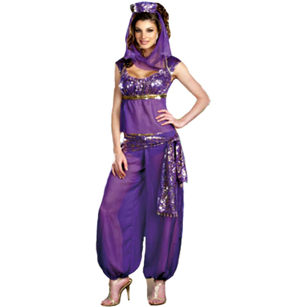 Womens Fancy Dress Belly Dancer Jasmine Aladdin Arabian Nights ...