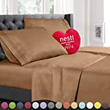 Bed Sheet Bedding Set, 100% Soft Brushed Microfiber with Deep Pocket Fitted Sheet - TWIN SINGLE - MOCHA LIGHT BROWN - 1800 Luxury Bedding Collection, Hypoallergenic & Wrinkle Free Bedroom Linen Set