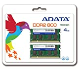 ADATA4 GB (2 x 2 GB) DDR2-800 (PC-6400) CL5 SO-DIMM Memory Kit AD2S800B2G52 (Black)