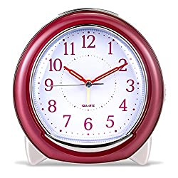 Super Silent Desk Alarm Clock, BonyTek Quartz Alarm Clock with Loud Mechanical Bell Birdsong Melody Alarm, Nightlight, Snooze, Silent Sweep Seconds, Luminous Hands, Battery Powered (Rose Red)
