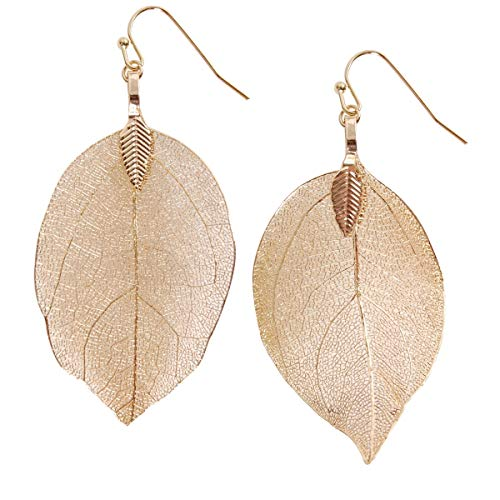 Humble Chic Natural Leaf Earrings - Lightweight Filigree Long Drop Dangle Earrings for Women, Small Gold-Tone, 1.5 to 2 inches